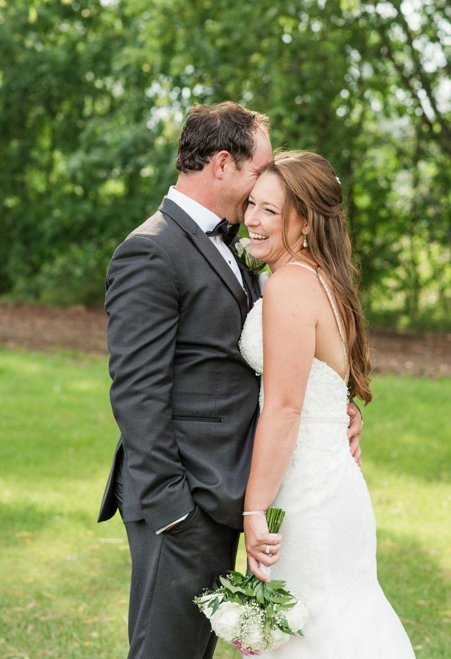 sweet bride and groom at wedding