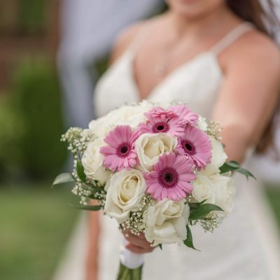 bride and her bouquet at wedding
